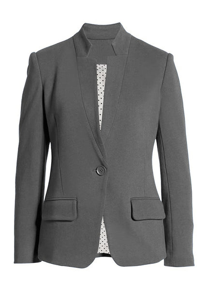 3D image of grey single button inverted lapel flap pockets blazer