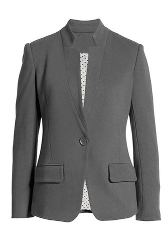 Grey Single Button Inverted Lapel Flap Pockets Blazer