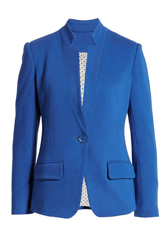 Royal Blue Single Button Inverted Lapel Flap Pockets Blazer