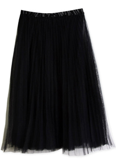 Layered Gauze Skirt - Black - Elegant Maxi Bottom