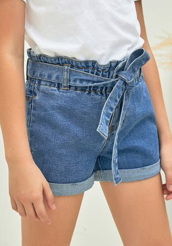 Light Blue Elastic High-Waist Belted Girls' Denim Shorts