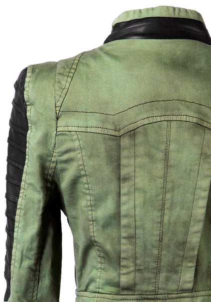 Denim PU Leather Contrast Blazer - Green - Black And Green Colored Blazer