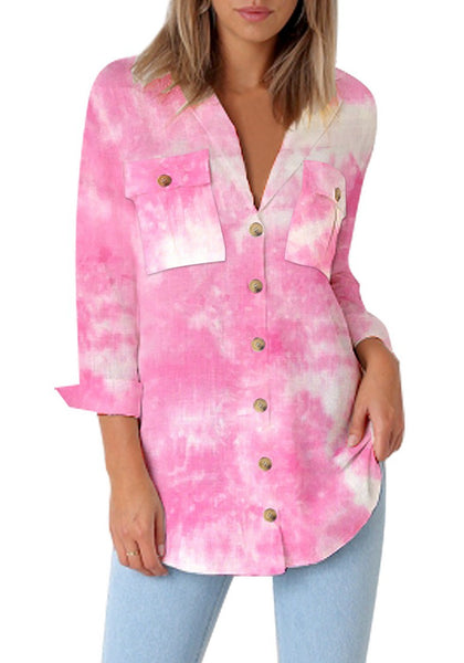 Front view of model wearing pink tie-dye long cuffed sleeves lapel button-up blouse