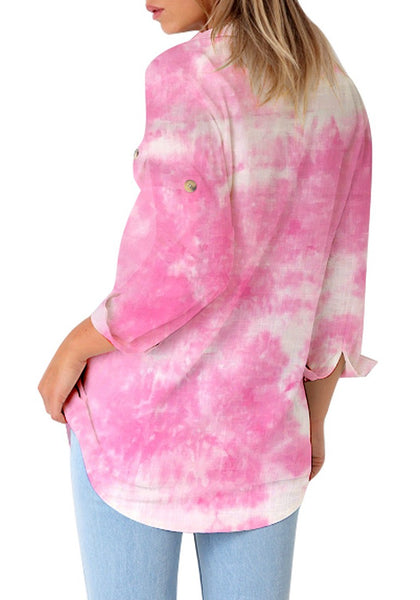 Back view of model wearing pink tie-dye long cuffed sleeves lapel button-up blouse