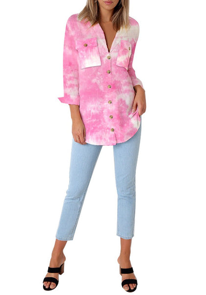 Full body shot of model wearing pink tie-dye long cuffed sleeves lapel button-up blouse
