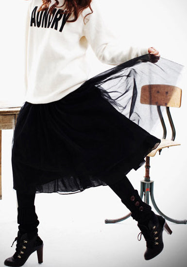 Layered Gauze Skirt - Black - High-Elastic Waist