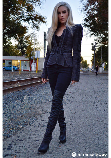 Denim PU Leather Contrast Grey - Tight Fit Blazer
