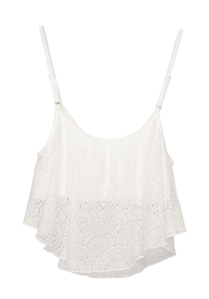 Front view of lace overlay crop top