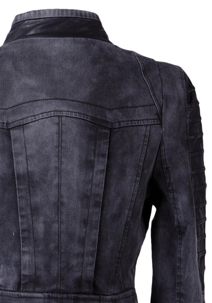 Close up view of back of grey denim PU leather contrast blazer