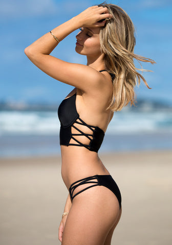 Cutout Side Bikini Set - Black