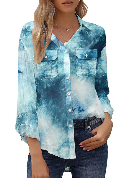 Blue Tie-Dye Long Sleeves Button-Up Top
