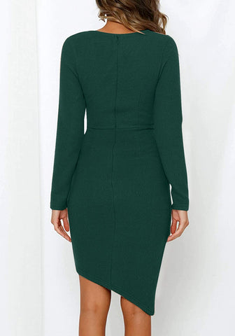 Dark Green Long Sleeves Tulip Hem Asymmetrical Wrap Dress
