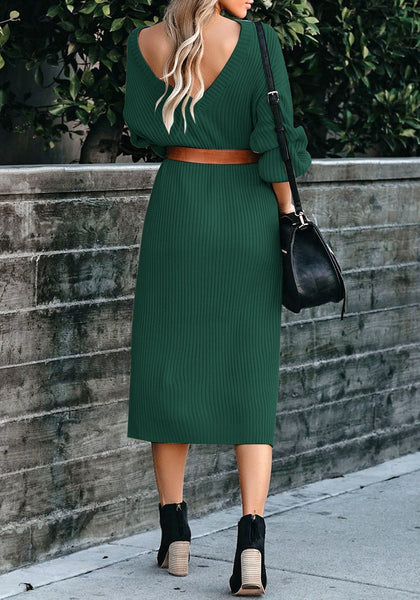 Back view of model wearing dark green loose lantern sleeves V-back knit midi dress