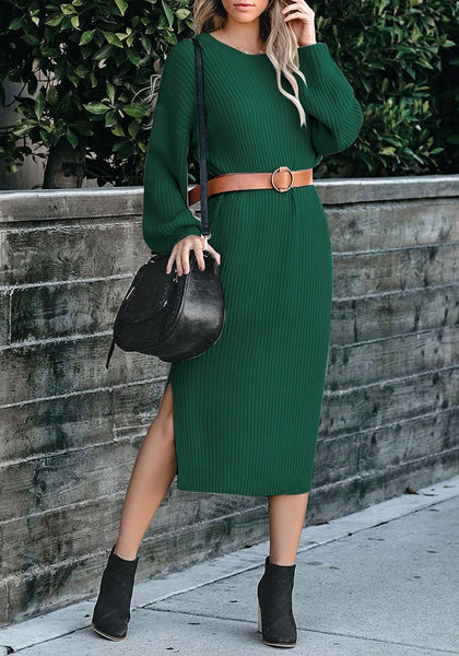 Front view of model wearing dark green loose lantern sleeves V-back knit midi dress