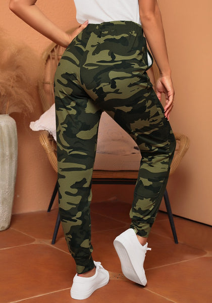 Back view of model wearing army green camouflage drawstring elastic waist jogger pants