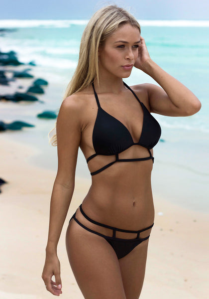 Caged Cutout Padded Bikini - Tie-Up Neck Swimwear
