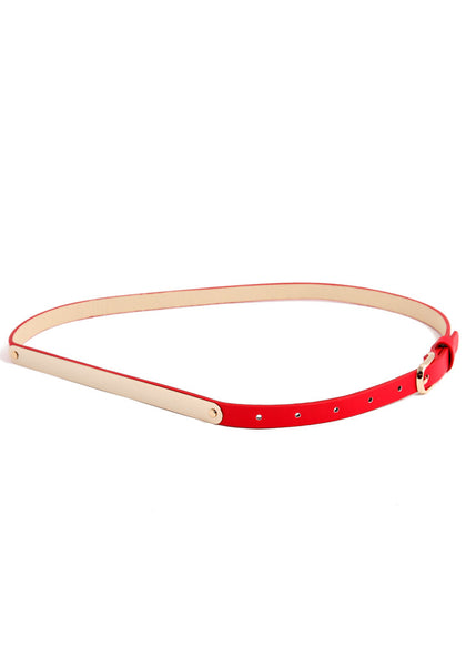 Slim Gold Waist Belt - Fiery Red Belt