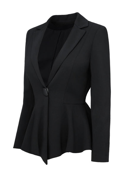 Anged view of black notched lapel front-button peplum blazer's 3D image