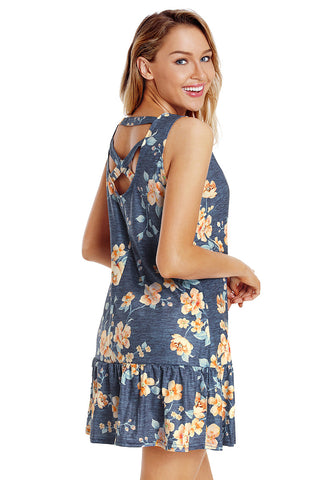 Navy Cross-Back Sleeveless Ruffled Mini Floral Shift Dress