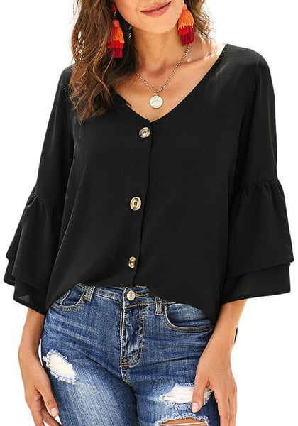 Angle shot of model wearing black V-neckline layered flared sleeves button-up top