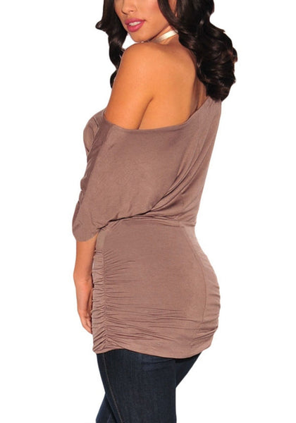 Angled back shot of model in rosy brown short sleeves ruched tunic top