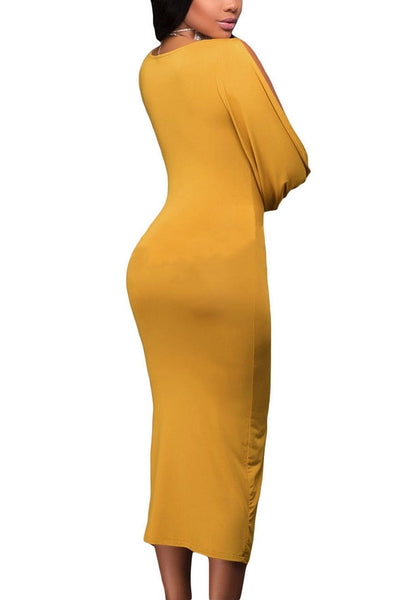 Angled back shot of woman in mustard split sleeve ruched midi dress
