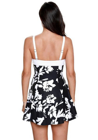 Floral One-Piece Skater Swimsuit