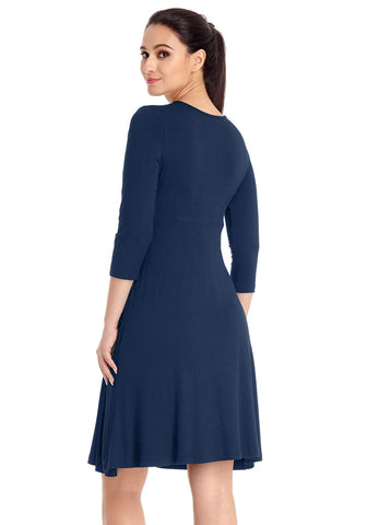 Navy V Neckline Ruched Surplice Maternity Dress