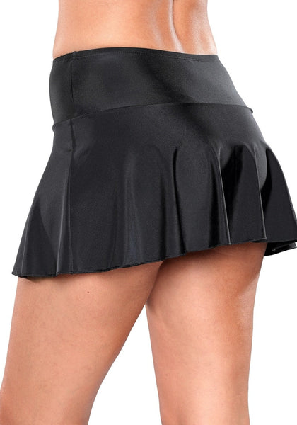 Angled close up bottom shot of model in solid black flared swim skirt