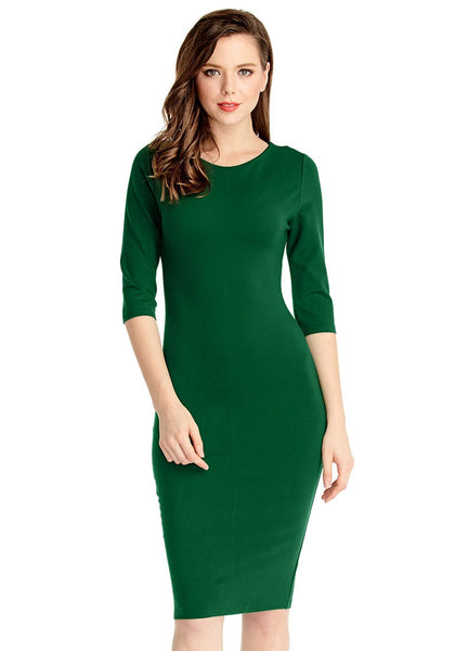 Angled front view of model in green classic bodycon midi dress