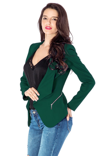 Angled left side view of model in deep green draped blazer