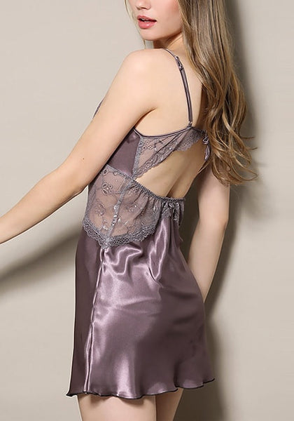 Angled left view of model in mauve datin and lace babydoll