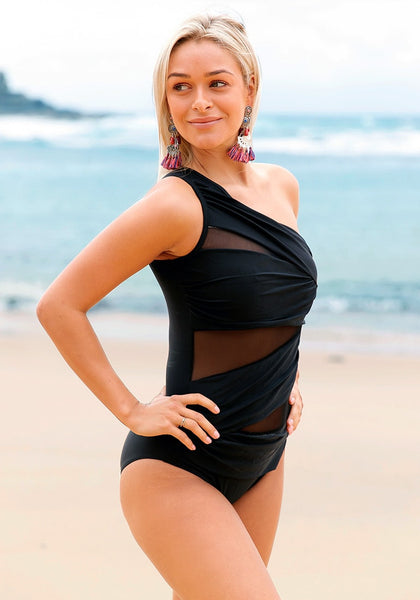 Woman posing wearing black mesh one-shoulder ruched swimsuit