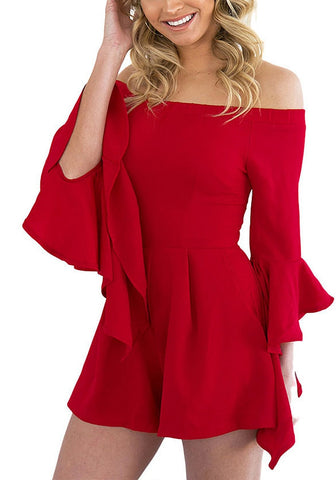 Red Off-shoulder Frill Sleeves Romper