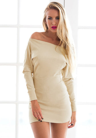 Beige One-Shoulder Dress