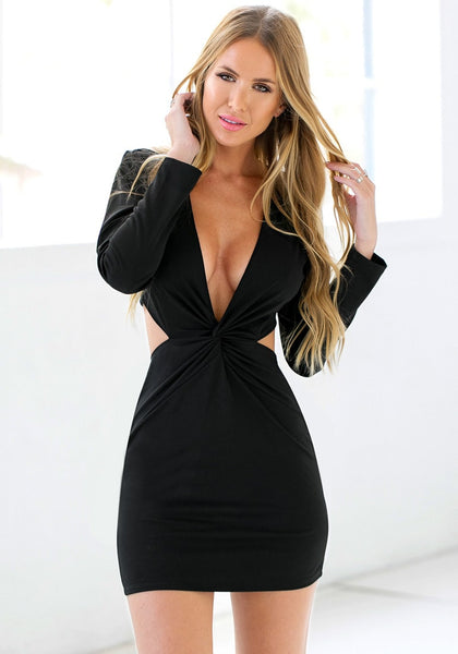Angled shot of girl in black knot cutout dress