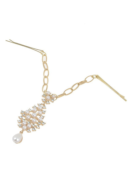 Angled shot of gold pearl and rhinestone bindi headpiece