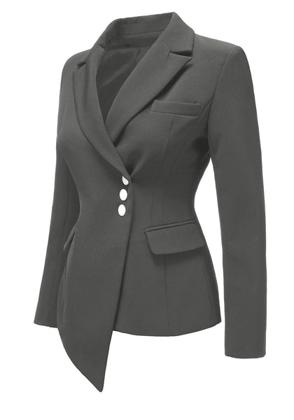 Angled shot of grey asymmetrical side buttons blazer's 3D image