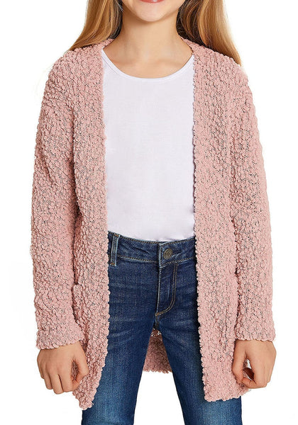Angled shot of little girl in mauve pink fuzzy fleece open-front girls cardigan