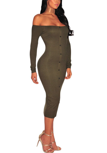 Angled shot of model in army green ribbed knit faux button off-shoulder dress.