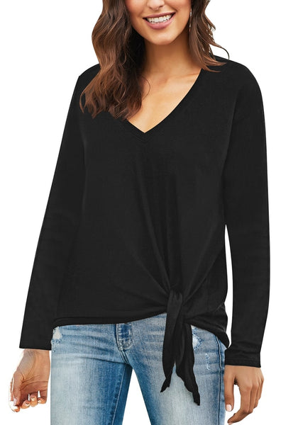Angled shot of model in black V-neckline side-tie knot long sleeves loose top