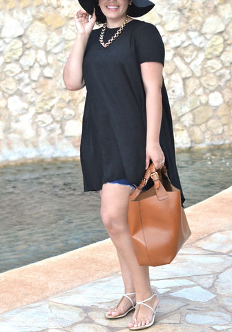Plus Size Black Hi-Lo Trapeze Tunic