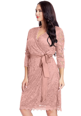 Plus Size Dusty Rose Lace Crop Sleeves Wrap Dress