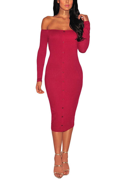 Angled shot of model in red ribbed knit faux button off-shoulder dress.