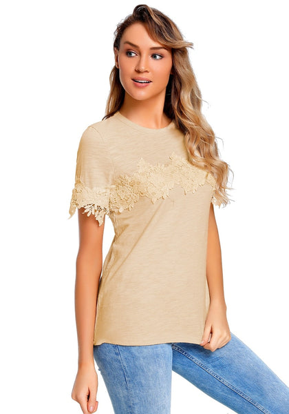 Angled shot of model wearing apricot floral crochet short sleeves blouse