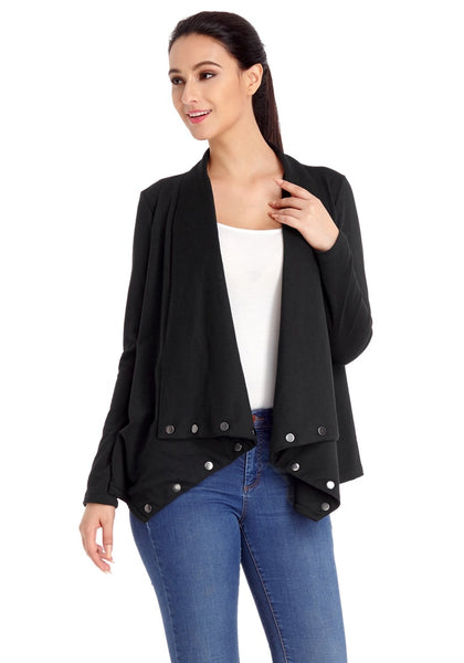 Angled shot of model wearing black button-embellished asymmetrical cardigan