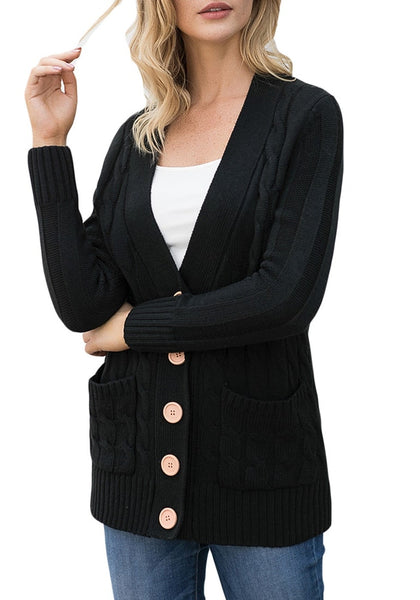 Angled shot of model wearing black button-up cable knit sweater cardigan