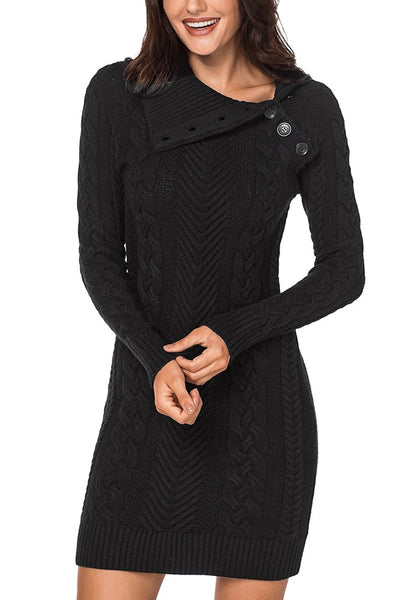 Angled shot of model wearing black cable knit split cowl neck sweater dress