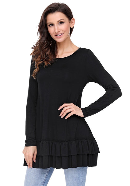 Angled shot of model wearing black layered ruffle-hem long sleeves tunic