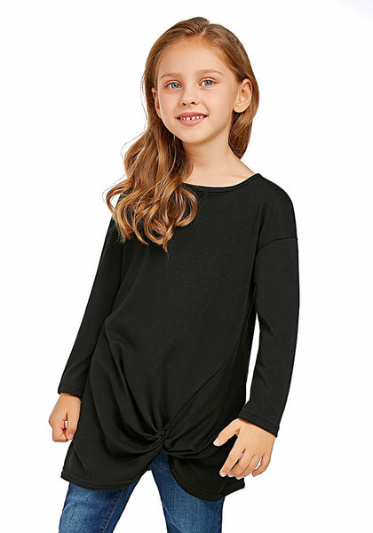 Angled shot of model wearing black long sleeves front twist knot girl top